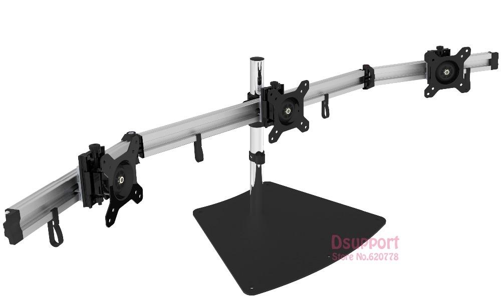 Aluminum Alloy Desktop Stand Triple Monitor Holder Full Motion TV Mount loading 8kgs each head цены