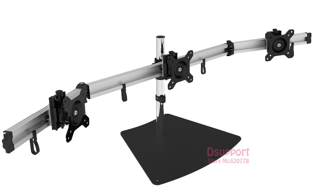 Aluminum Alloy Desktop Stand Triple Monitor Holder Full Motion TV Mount loading 8kgs each head