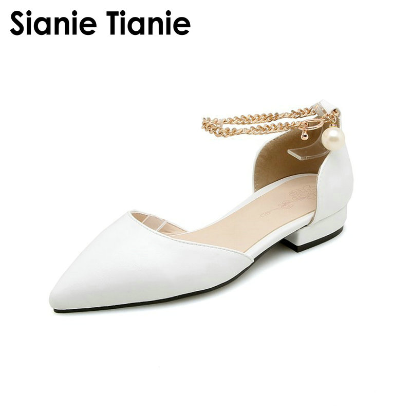 Sianie Tianie 2019 summer white pink pointed toe shallow woman flats shoes sweet female women sandals with metal ring size 44 46
