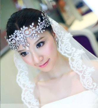 Korean alloy rhinestone soft tiara forehead crown bridal headdress crystal wedding aggregate artificial eyebrows
