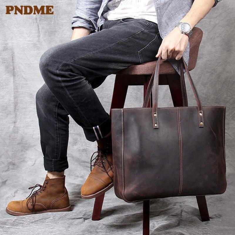 PNDME de cheval fou de haute qualité vachette fourre-tout sacs vintage simple grande capacité en cuir véritable décontracté pour hommes femmes sacs à main