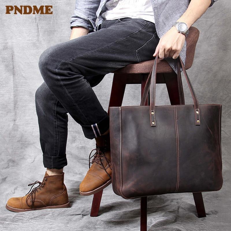 PNDME High Quality Crazy Horse Cowhide Tote Bags Vintage Simple Large Capacity Genuine Leather Casual Men's Women Handbags