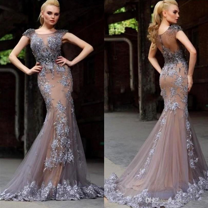 e1a60b8be5ca1 Hot Muslim Evening Dresses 2019 Mermaid Cap Sleeves Tulle Lace Beaded  Islamic Dubai Saudi Arabic ...