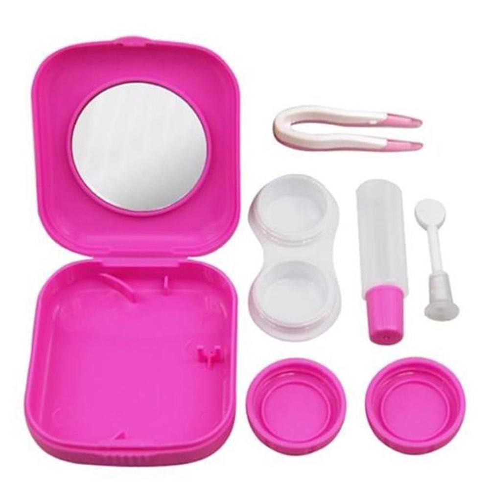 New Portable Contact Lens Case Cartoon Animal With Mirror Eye Care Kit Contact Lenses Box