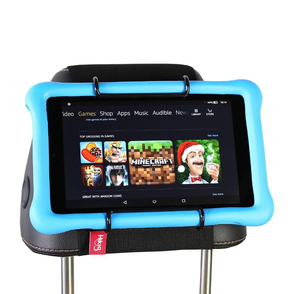 Soporte de montaje del reposacabezas de la tableta del asiento trasero del coche para Amazon Kindle Fire 7, Fire HD 8, Fire HD 10 edición de los niños con/sin funda