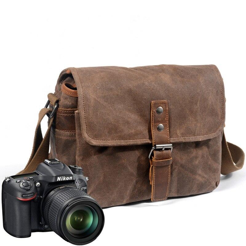 2019 Vintage hommes sac à bandoulière caméra étanche toile sac rétro SLR caméra sac toile homme épaule photographique vidéo sac