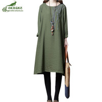 Best selling women's autumn dress 2019 new loose thin A word dress large size cotton and linen long sleeved dresses female