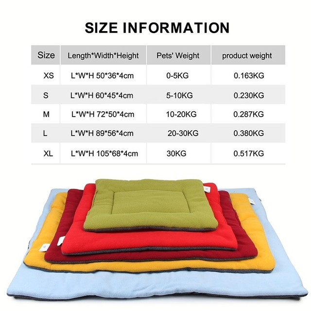 Soft Dog Bed Mat Pet Cushion House for Cats Warm Dog Blanket Solid Fleece Lounger Bed for Small Medium Large Dogs Pet Products 1