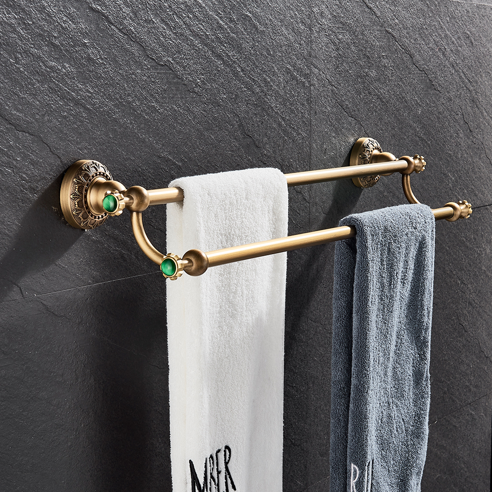 Luxury Antique Brass Bathroom Towel Rack Double Towel Bars Towel Holder Bathroom Accessories Wall Mount Solid Brass european antique brass double towel bars luxury towel rack towel bar wall mounted towel holder bathroom accessories zl 8711f