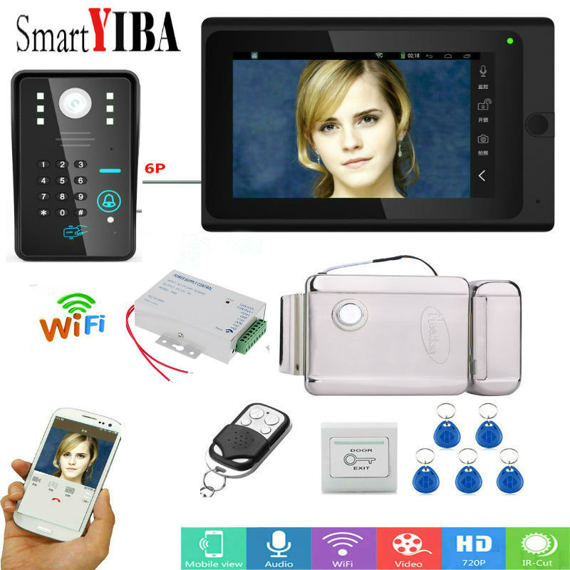 SmartYIBA Wired /Wireless Wifi Video Door Phone Doorbell Kit Video Intercom System HD 720P Camera 7 inch with APP Remote control wired wireless wifi ip video door phone doorbell kit video intercom system hd 720p camera 7 inch with app remote control