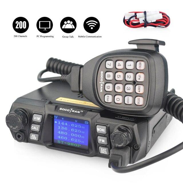 Navio de ru ST 980PLUS banda dupla 136 174 mhz & 400 480 mhz 200ch vhf 75 w/55 w uhf quad standby transceptor de rádio móvel de alta potência