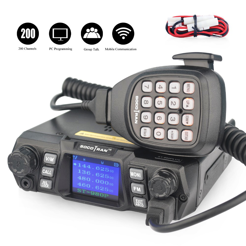 Ship From RU ST-980PLUS Dual Band 136-174MHz&400-480MHz  200CH VHF 75W/55W UHF Quad-standby High Power Mobile Radio Transceiver