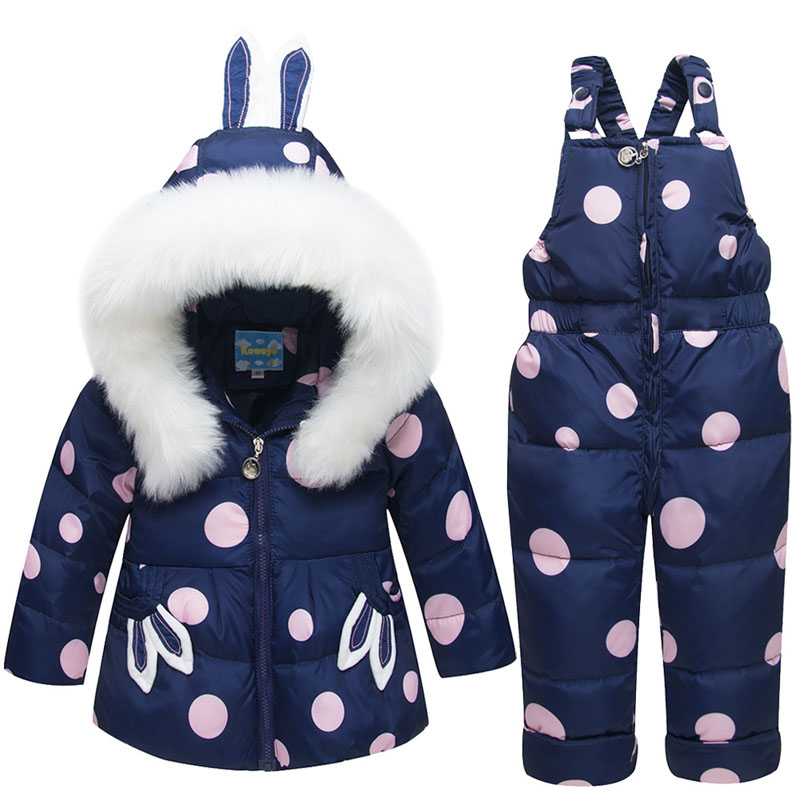 2020 Winter Warm Children Snowsuit Clothing Set 90% Duck Down Hooded Pants Jacket For Baby Girls Boys Coat Rabbit Ear Overcoat