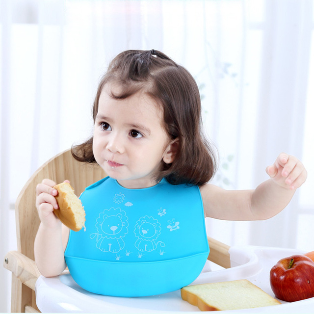 Baby Bibs Silicone Baby Eating Children Waterproof Three-Dimensional Rice Bibs Large Child Saliva Pocket Washable