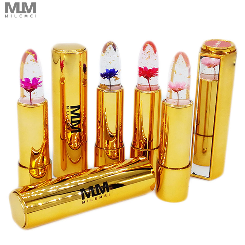 Brand Milemei Flower Lipstick magic color temperature change 100% original beautiful  jelly flower lipstick matte batom
