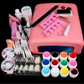 36W UV GEL Nail Art Tools Sets Kits White Lamp & 12 Color UV Gel Nail Pro Nail Art Equipment