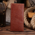 Men 's retro oil skin long cell phone wallet leather cowhide pure hand money first layer of leather handbags
