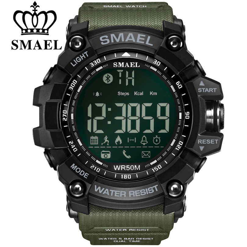SMAEL Mens Bluetooth Chronograph Watches Sport Male Clock Reminder Stop Watch Digital Men Wearable Devices For ios Android Phone(China)