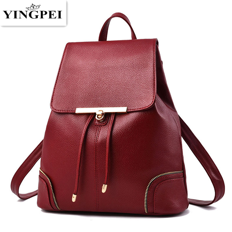 YINGPEI Fashion Designer PU Leather Women Backpack Drawstring School Bags For Teenagers Girls Female Travel BackPacks Burgundy new arrival do dower brand designer bags pu leather backpacks women vintaga style fashion rucksacks school backpack for girls
