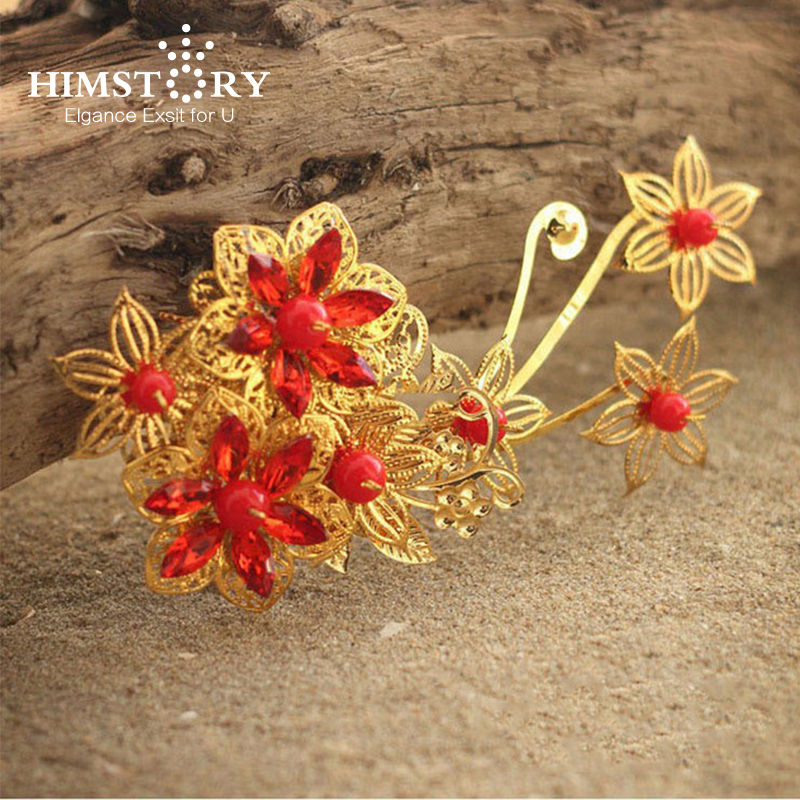 HIMSTORY Vintage Chinese Red Rhinestones Gold Wedding Flower Hair Accessory , Bridal Insert Marriage Hair Comb HEadpiece