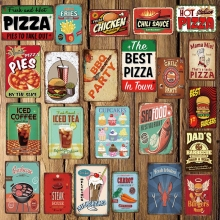 [ DecorMan ] PIZZA BBQ COFFEE TEA Seafood Beef hamburger Metal Signs Custom tin signs Mural Paintings Bar PUB Decor LT-1755