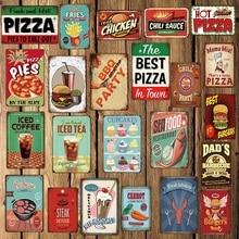 [ DecorMan ] PIZZA BBQ COFFEE TEA Seafood Beef hamburger Metal Signs Custom tin signs Mural Paintings Bar PUB Decor LT-1755