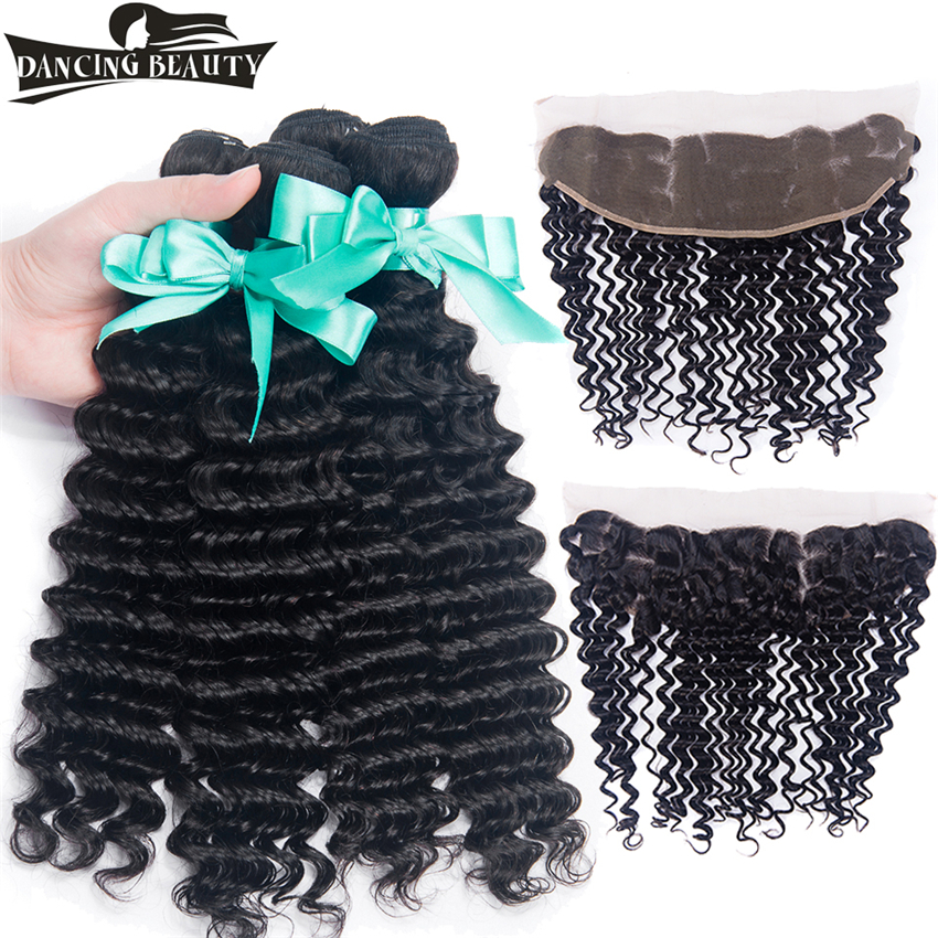 DANCING BEAUTY Deep Wave Human Hair 4 Bundles With Frontal Deep Wave Peruvian Hair Weave Bundles With Frontal Non Remy 5Pcs/lot
