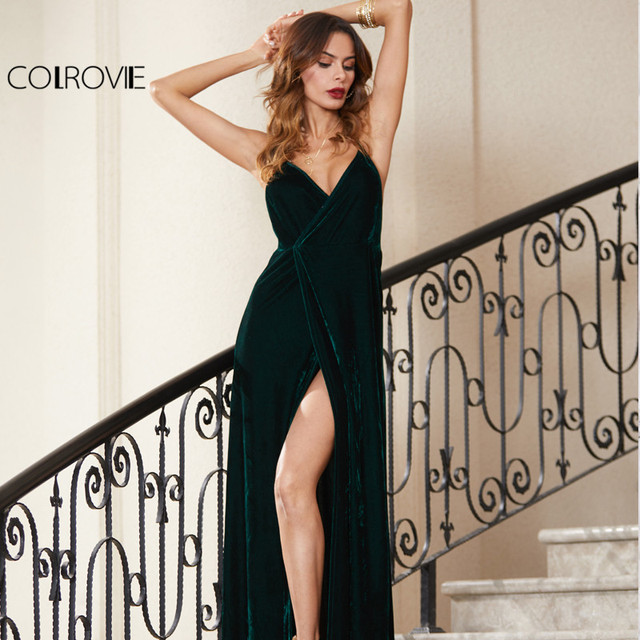 COLROVIE Green Velvet Summer Party Dress Strappy Backless Women Sexy Wrap  Maxi Dresses Deep V Neck 067226c2a