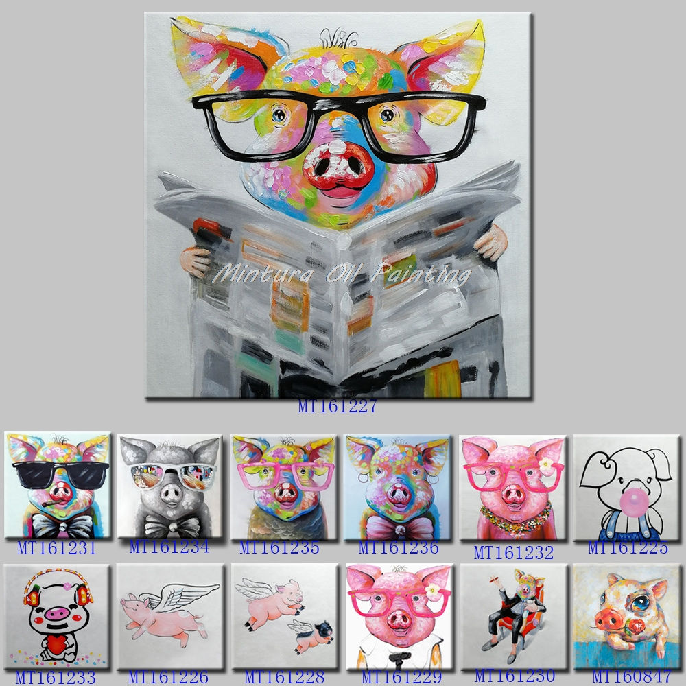 Mintura Art Hand Painted Acrylic Canvas Oil Paintings Pig Modern Abstract Animal Wall Art Picture Kid's Room Home Decor No Frame