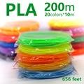3d волокнонные нити ABS/PLA 1,75 мм 200 м/100 м 20 видов цветов Идеальный 3d ручки пластиковые экологическая безопасность пластиковые подарок на день р...