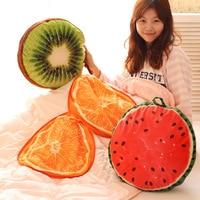 Candice guo! Newest arrival emulational fruit cushion air-condition blanket orange watermelon kiwi plush toy birthday gift 1pc