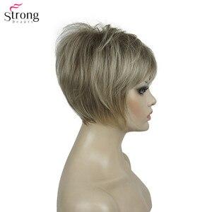 Image 3 - Strongbeauty 합성 가발 여성 부르고뉴/금발 자연 가발 짧은 스트레이트 가발