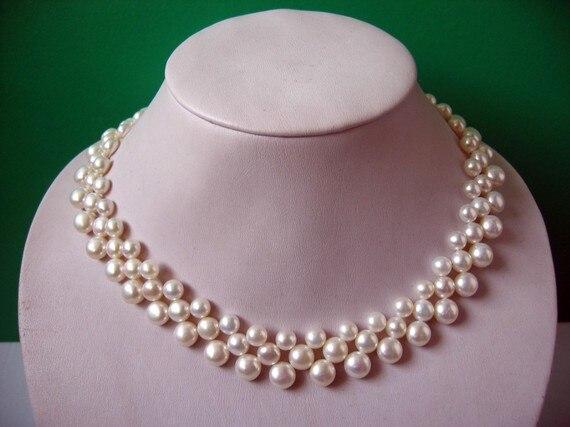 Élégant véritable bijoux en perles, joli collier de perles d'eau douce bouton de pièce de monnaie blanc 3 rangées 42 cm bijoux de dame de mode