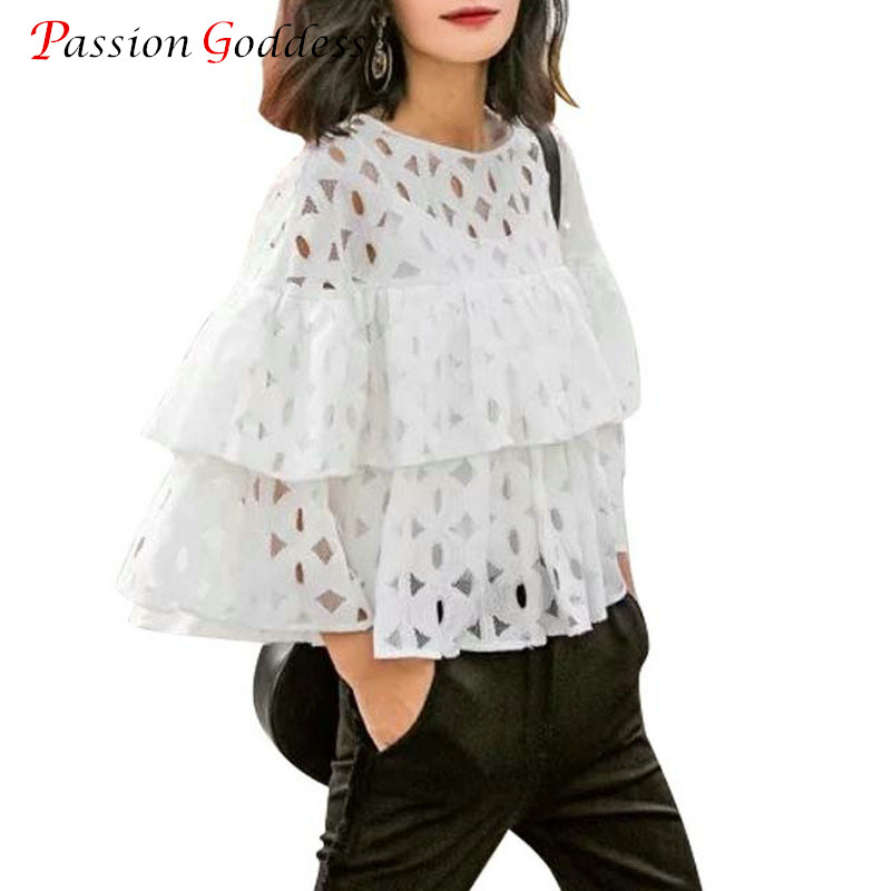 2016 Summer Plus Size Women Short Blouses Shirts o neck 3/4 sleeve lace hollow out loose ruffles blouse ladies tops White Black