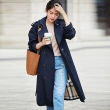 Khaki Trench Coat for Women Fashion Fall Middle Age Coats Duster High Quality Long Windbreaker 100% Cotton Sobretudo