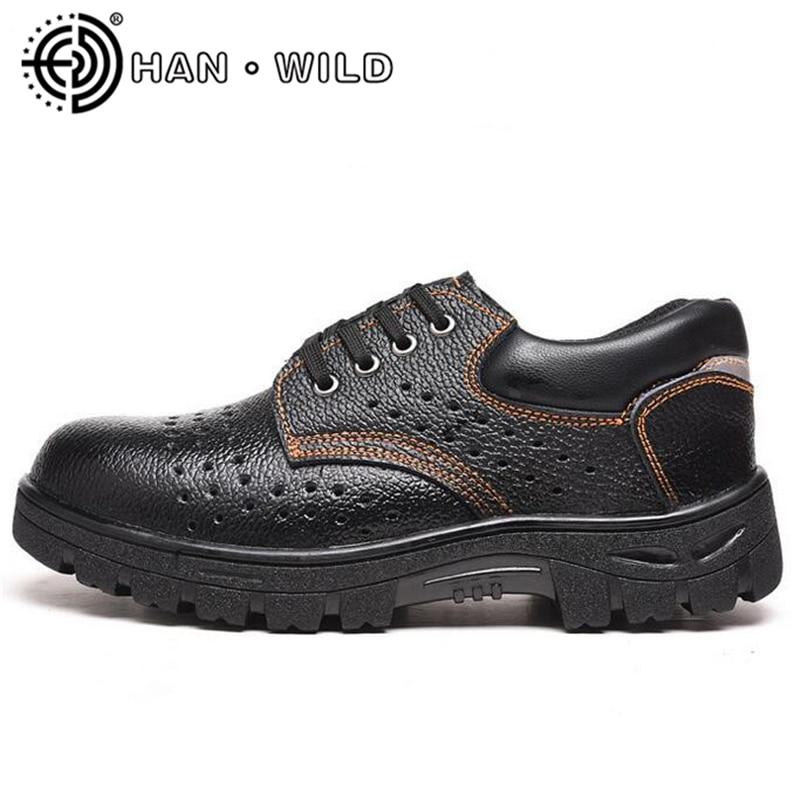 En De Hommes Haute Pour Noir Travail Sécurité Respirant Multifonction Preuve Cuir Bottes Orteil Chaussures Qualité Acier D'été Ponction xXRxCwqE