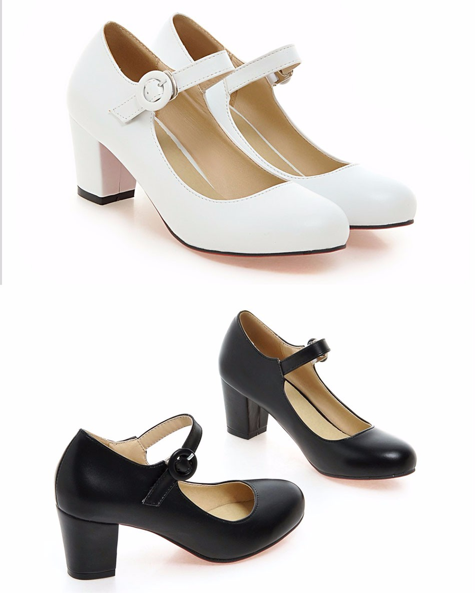 Meotina Women Shoes Mary Jane Ladies High Heels White Wedding Shoes Thick Heel Pumps Lady Shoes Black Pink Beige Plus Size 43 10 5