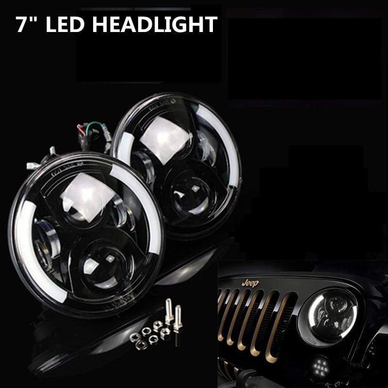 ФОТО 7 Inch 7'' LED Headlight With white DRL Halo Headlights Bulb Lamp For Harley Motorcycle Jee-p Wrangler JK TJ CJ LJ Humme-r