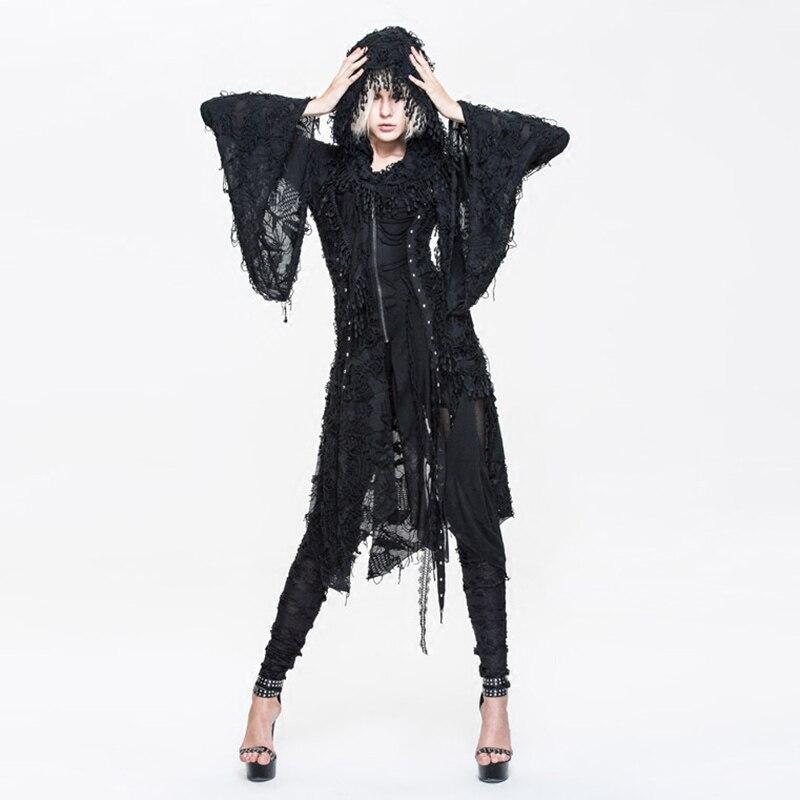 Printemps noir Steampunk blouson à capuche femmes gothique asymétrique manches longues manteau rue personnalité sweat à capuche 2017