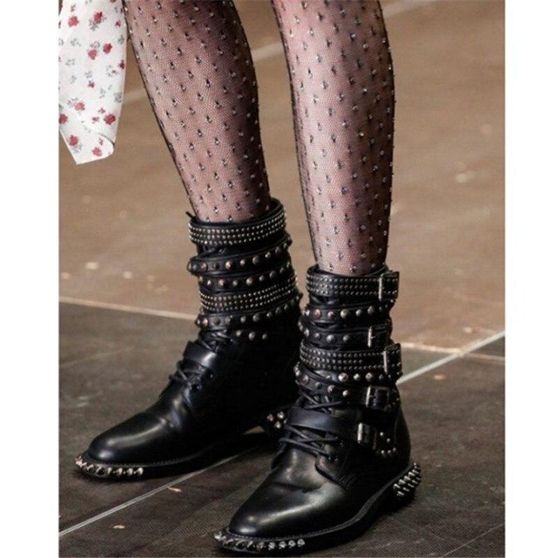 Rivet Compensées Super Noir À Moto Designers Clouté Punk Bottes Chaussures Boucle Style Martin Hauts De Piste Bottines Femmes La Talons Semelles OwHRE