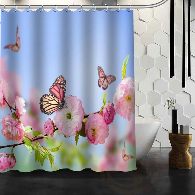 Best Nice Custom Flowers Spring Butterfly Shower Curtain Bath Waterproof Fabric Bathroom MORE SIZE WJY36