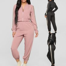 2 Pcs Running Set 2019 Women Striped Hooded Tracksuit Joggers Suits Sportswear Workout Clothes Casual Loose Sweatshirts Sports(China)