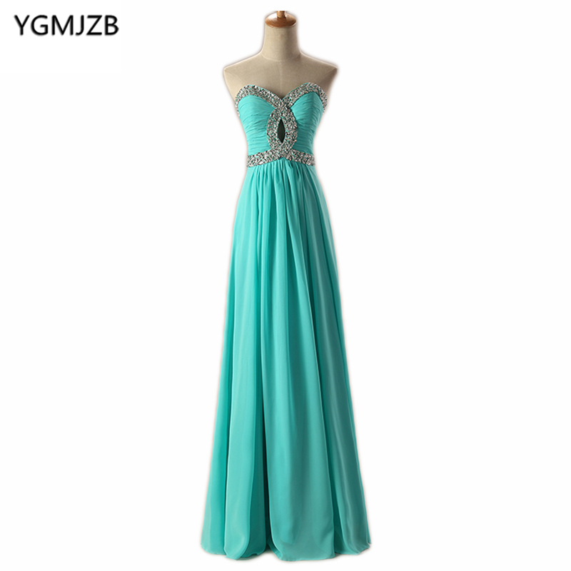 Cheap Bridesmaid Dresses Long 2018 A Line Sweetheart Beaded Sequined Chiffon Turquoise Pink Blue Green Wedding Party Dress 2018