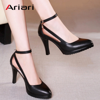 Ariari Lady Spike Heels Pumps Mature Office Lady Pumps Buckle Strap Platform High Heels Women Shoes Four Season Leather Shoes
