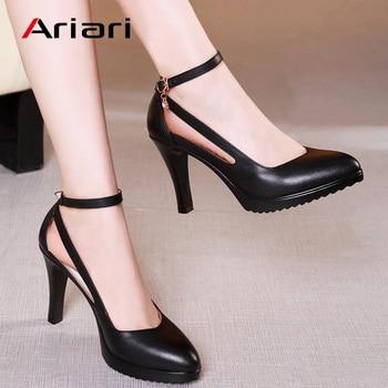 Ariari Lady Spike Heels Pumps Mature Office Lady Pumps Buckle Strap Platform High Heels Women Shoes Four Season Leather Shoes