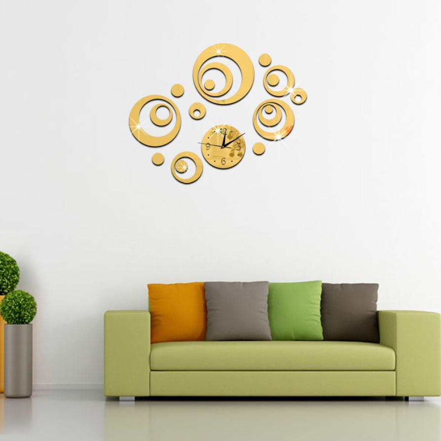 Modern DIY Wall Clock 3D Mirror Surface Sticker Home Office Decor Wall Sticker 1.10