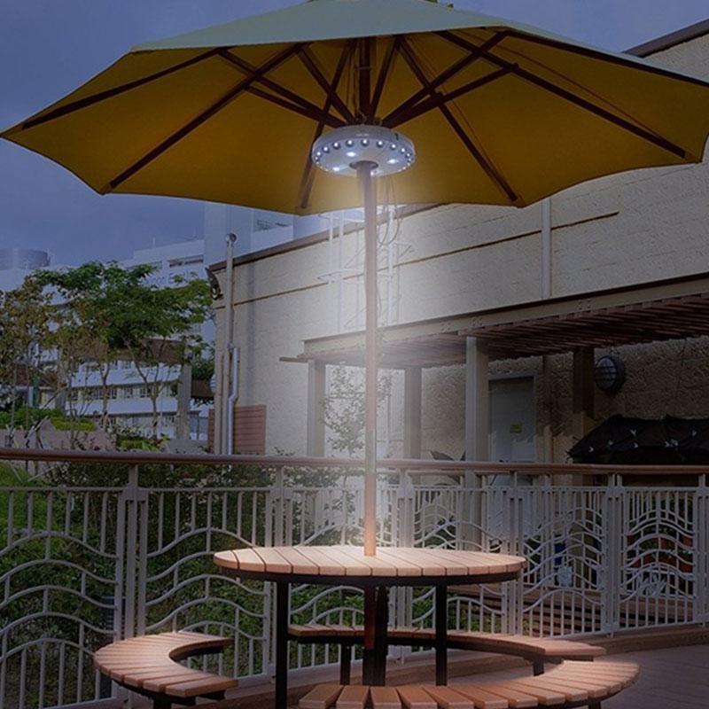 Parasol Garden Umbrella Pole Light Lantern Pole Lamp Durable 28LED Portable Outdoor Garden Umbrella Night Lamp Camping Tent Yard
