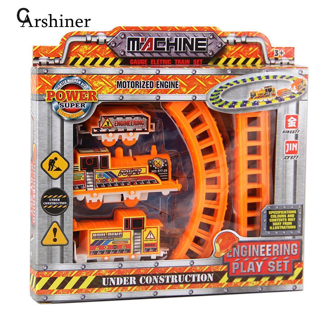 Set Kids Cartoon Electric Railway Train with Track Children Educational Toys