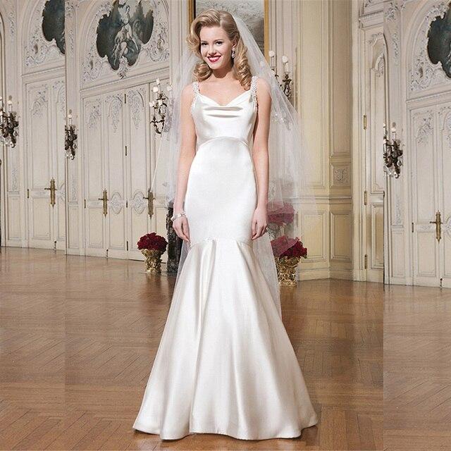 9344e6663c9 Sleeveless Satin Wedding Dress Spaghetti Strap 2015 With Train Sexy Mermaid Wedding  Dresses Open Back White V Neck Bridal Gowns