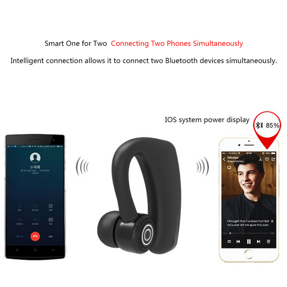 New V9 Updated Version of Business Ear-hook Type Earphone Wireless CSR Bluetooth Headset Stereo with Sound Control гарнитура для шлема updated version 2 v6 bt bluetooth 1200m interfones 6 2